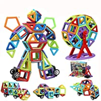 infinitoo Magnetic Building Blocks, 109 Piece Magnetic Shapes, ABS Safety Plastic, Instruction Booklet Included…