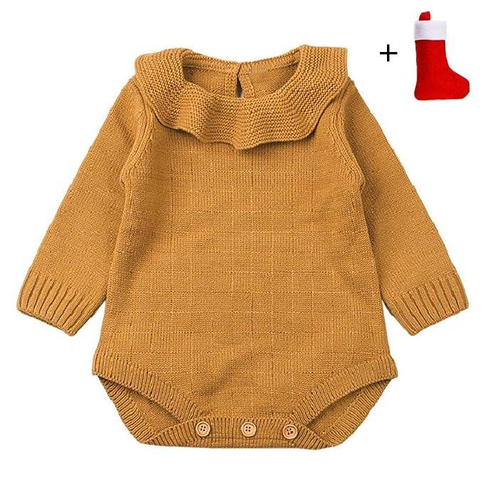 QUICKLYLY Mameluco Punto Invierno Recién Nacido Bebé Niño Niña Manga Larga Elástico Mono Peleles Ropa: Amazon.es: Ropa y accesorios