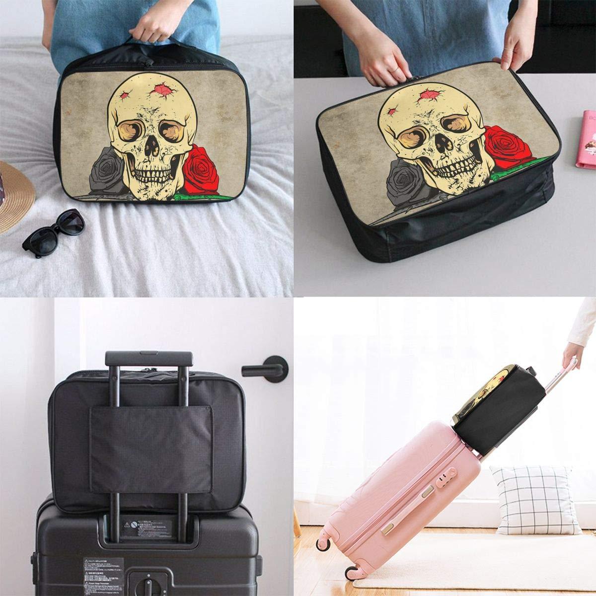 Travel Luggage Duffle Bag Lightweight Portable Handbag Skull Roses Large Capacity Waterproof Foldable Storage Tote
