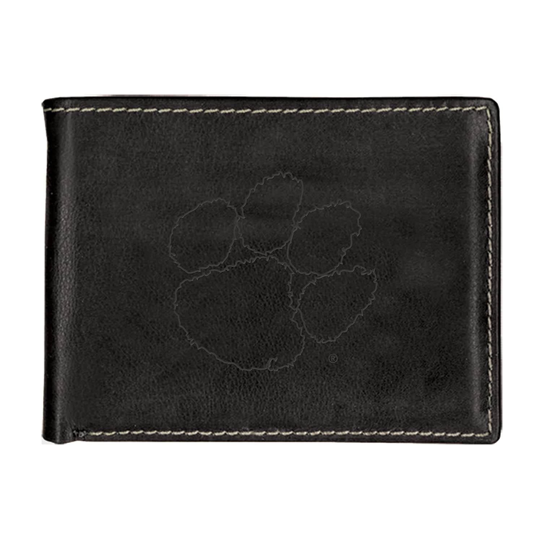 Clemson University Contrast Stitch Bifold Leather Wallet