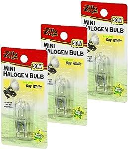 Zilla Mini Halogen Lamp Reptile Bulb, 50-watt, Day White (3 Pack)