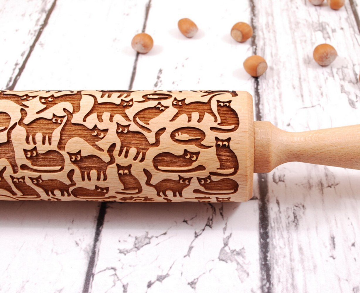 Kedera Cats Pattern Embossing Rolling Pin,Wooden Laser Engraved Rolling Pin With Cats For Embossed Cookies Kederastyle RNm-6