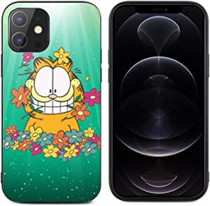 Garfield for iPhone 12 Glass case Anti-Scratch Shockproof Cover Protective Case for iPhone 12/12 pro max case, Protective Compatible with for iPhone 12