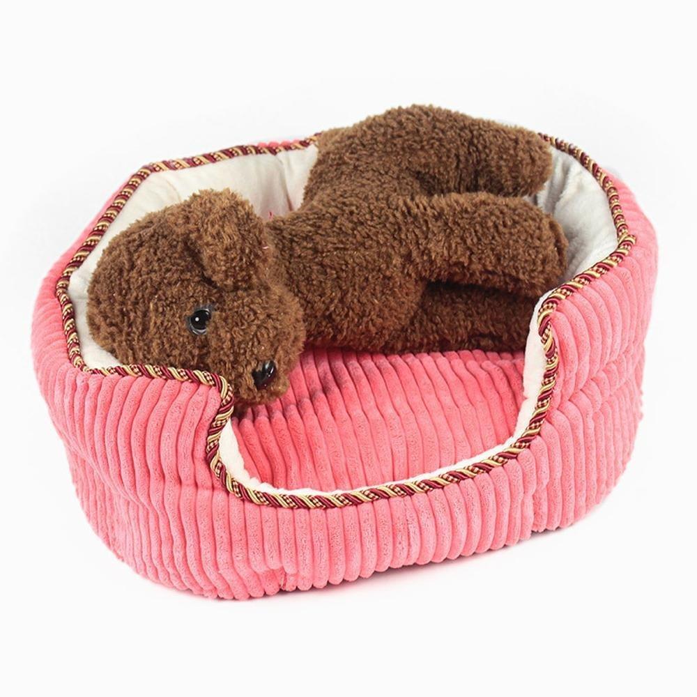 A 353318cm A 353318cm WUTOLUO Pet Bolster Dog Bed Comfort Super soft round kennel cat nest (color   A, Size   35  33  18cm)