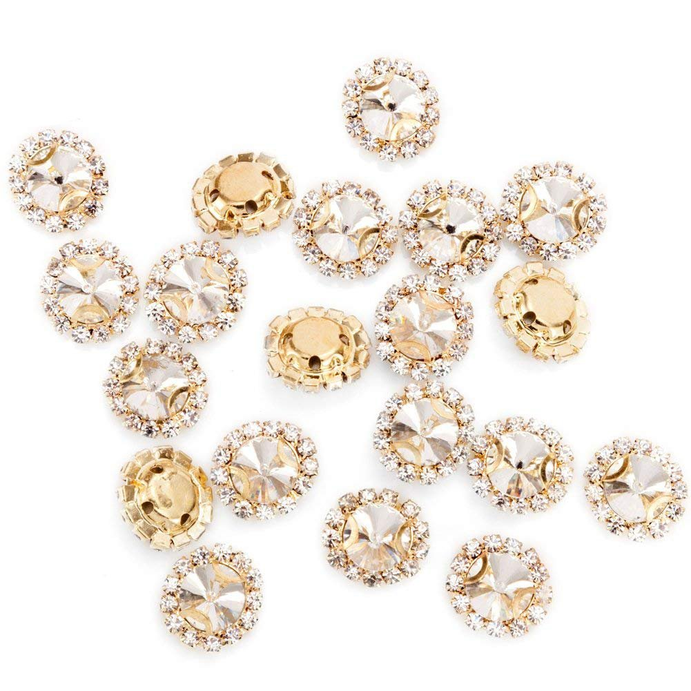 DIY Craft Perfect for Clothes Garment Dress Bags Shoes Wedding Party Decoration 50Pcs Bright Flatback Beads Buttons with Diamond Rose Gold Premium Crystal Rhinestones Sew on Clothing