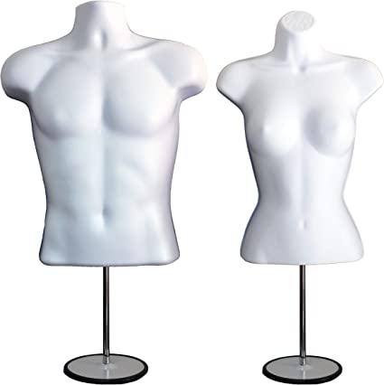 Photos or Design Dress Form Hollow Back Body Tshirt Display Easy to Assemble and Store S-M Sizes. Male w//Metal Stand for Counter Top by EZ-Mannequins for Craft Shows Female Mannequin Torso Set