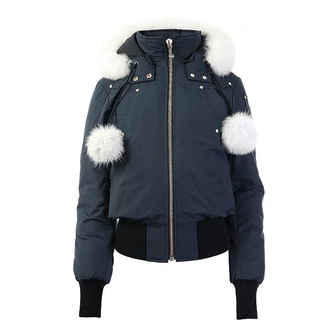 41ccadb48 Moose Knuckles Womens Standard Debbie Bomber Down Jacket with Fur Pom Pom
