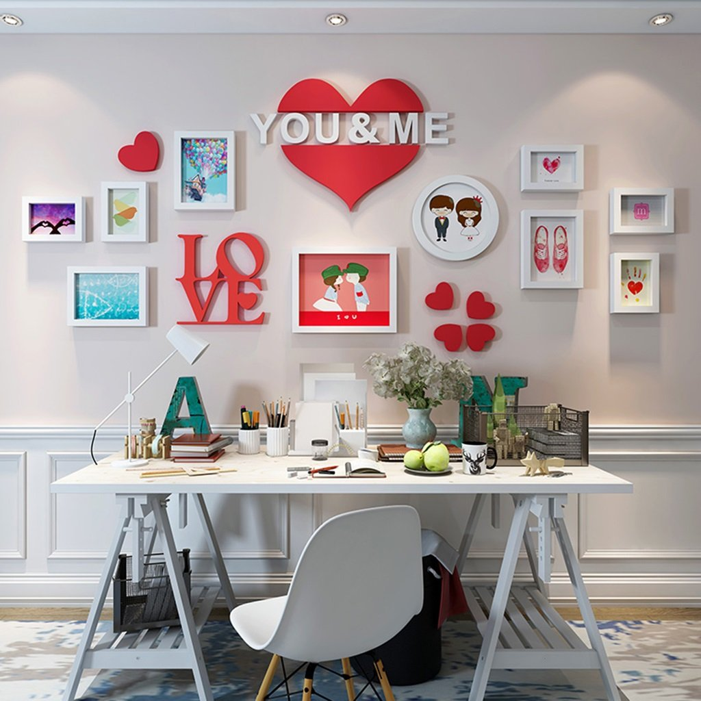 Home@Wall photo frame Wooden Frame Wall Romantic Wedding Photo Wall Creative Combination (Color : B, Size : 17474CM)