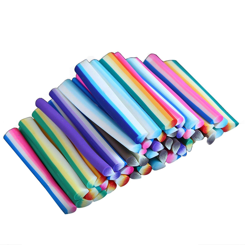 100 PCS Barritas De Fimo Decoración Cuttable DIY uñas 3D arte manicura arte polímero arcilla patrón decoración pegatinas Stick barra herramientas (Flor) Beetest