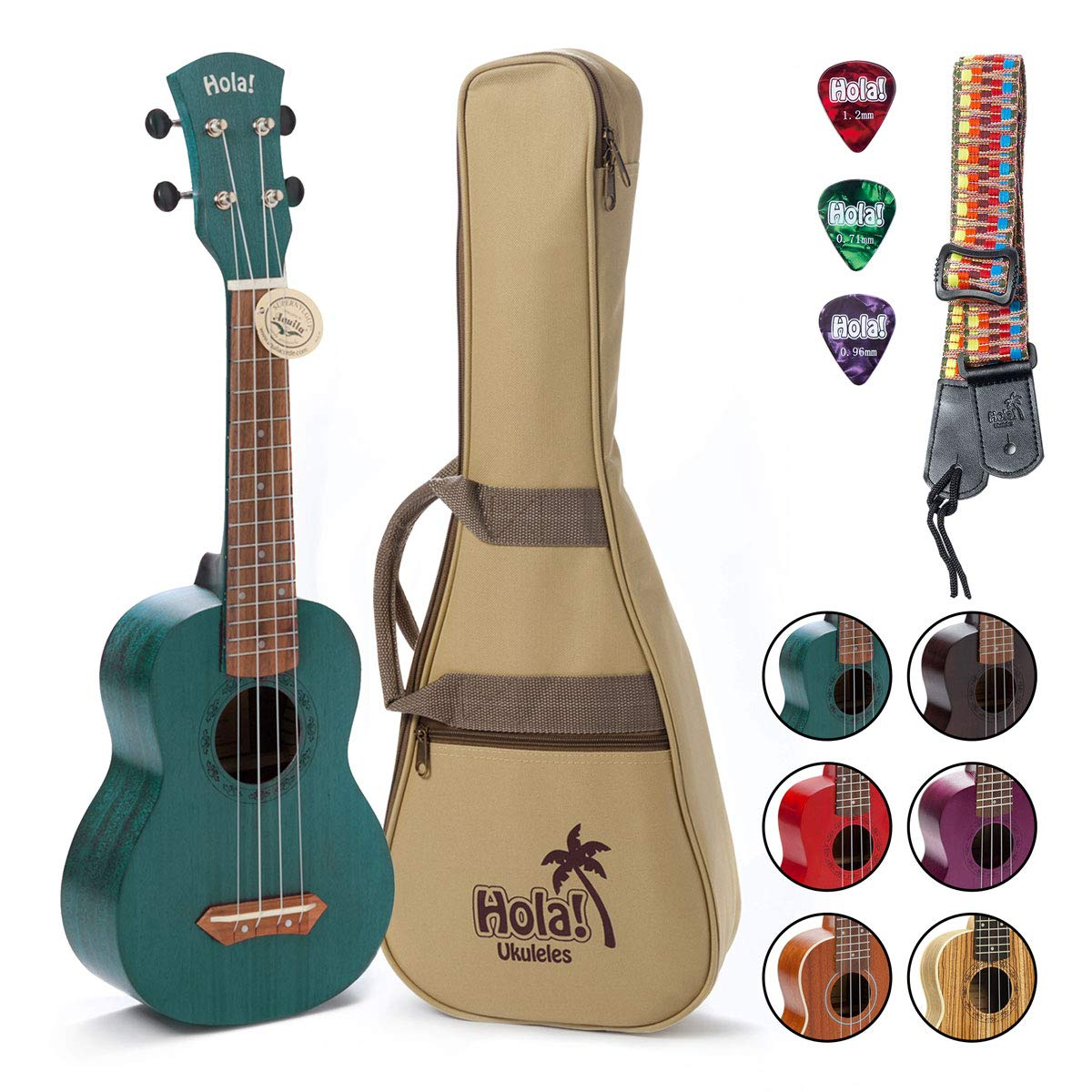 Hola! Music HM-121BU+ Deluxe Mahogany Soprano Ukulele Bundle with Aquila Strings, Padded Gig Bag, Strap and Picks - Teal by Hola! Music