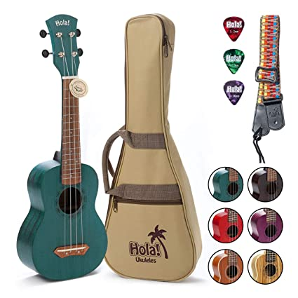 Hola! Music HM-121BU+ Deluxe Mahogany Soprano Ukulele Bundle with Aquila Strings, Padded Gig Bag, Strap and Picks - Teal best ukelele