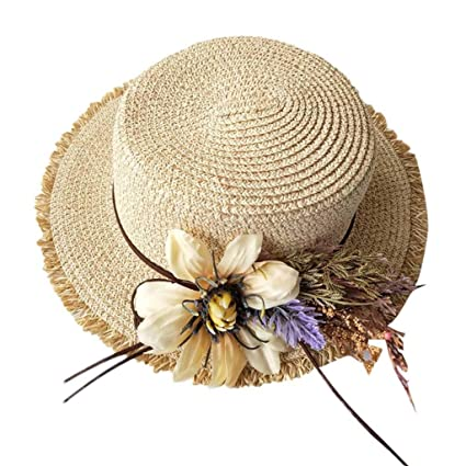 fba75807 LLYWEY Womens Flower Bow-Knot Wide Brimmed Floppy Foldable Panama Sun Beach  Hat Summer Outdoor