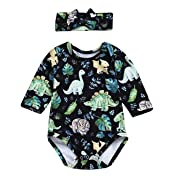 YOUNGER TREE Infant Baby Girl Dinosaur Plant Romper Long Sleeve Cartoon Print Onesies with Headband 2Pcs Outfits Clothes (Green, 0-6 Months)