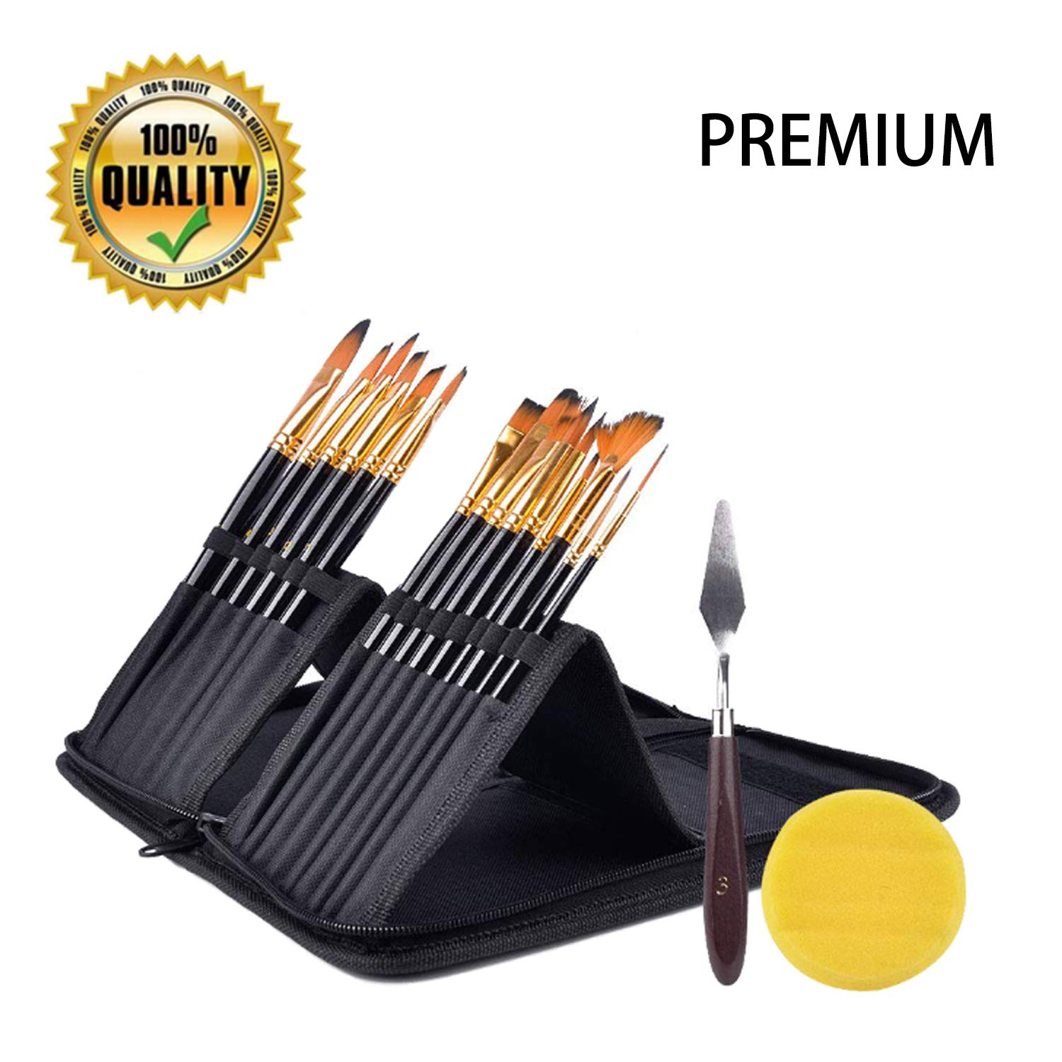 Artist Paint Brush Set,15 Different Shapes & Sizes – Free Painting Knife & Watercolor Sponge – No Shed Bristles – Wood Handles – for Body Paint, Acrylics & Oil(Black)