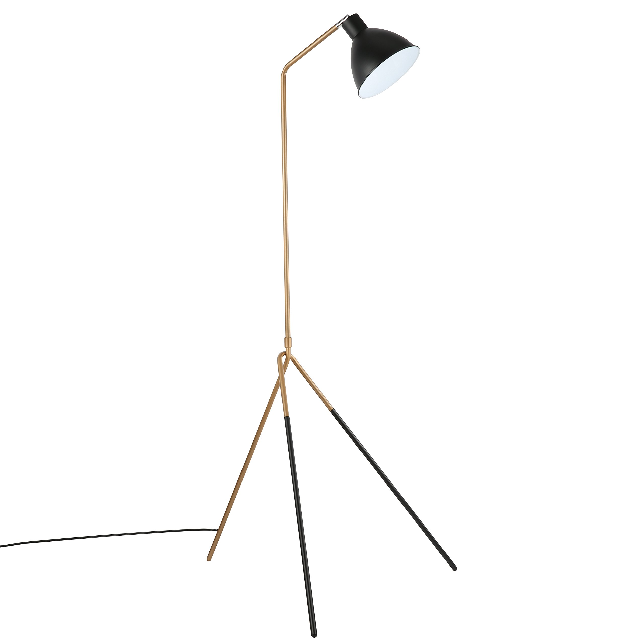Light Society Mastise Grasshopper Floor Lamp, Matte Black and Gold Finish, Mid Century Modern Industrial Style (LS-F232-BKGD)