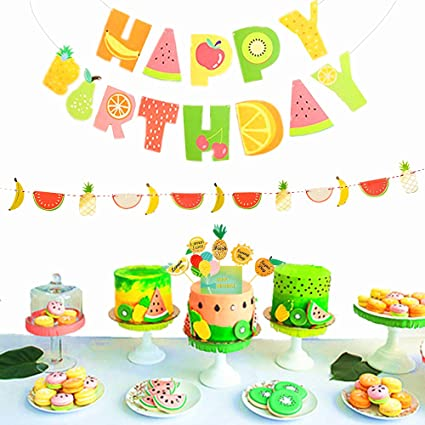 JeVenis Set Of 3 Tutti Frutti Banner Kids 2nd Birthday Party Decoration Supplies Cake