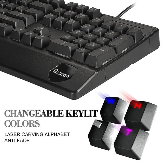 Teclado retroiluminado RECCAZR para Videojuegos, 3 Colores con Teclado LED con 105 Teclas, Teclado con Cable USB con 19 Teclas Anti-ghosting para Ordenador ...