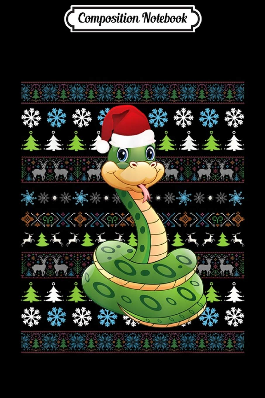 Composition Notebook: Merry Christmas Snake Ugly Sweater