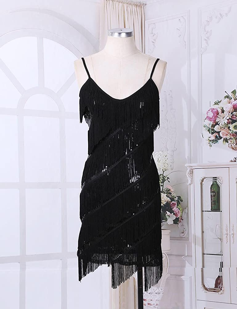 Women Spaghetti Strap Tassel Sequin Fringe Flapper Dress Evening Party Dancewear