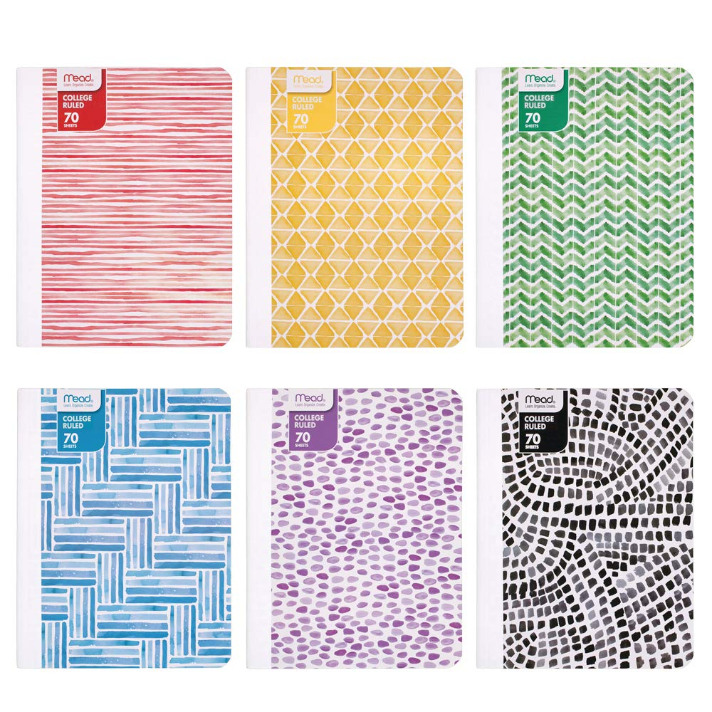 Mead Composition Books/Notebooks, College Ruled Paper, 70 Sheets, Fashion, Designs Selected For You, 12 Pack (38212)