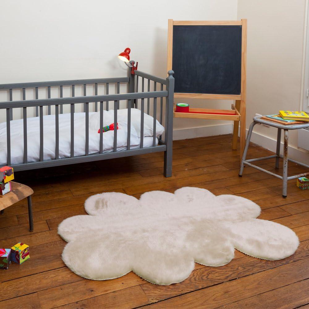 dise/ño de Nube Pilepoil Color Beige 90 x 130 cm Alfombra Infantil Piel Artificial Fabricado en Francia