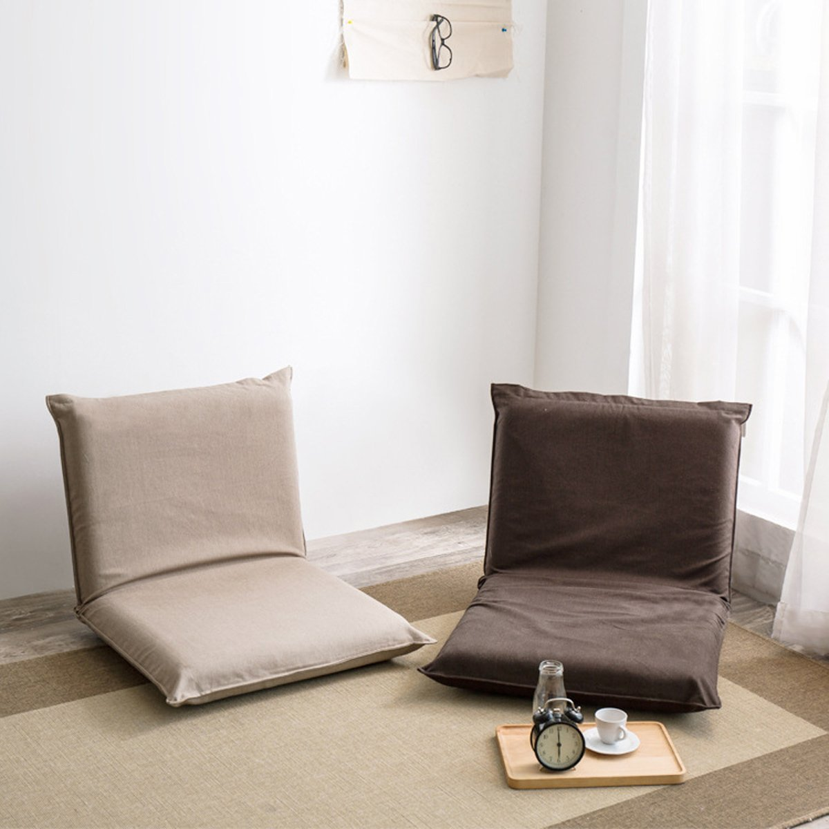 Japanese-style Seating Floor Sofa Chair Six Position Multiangle Adjustable Folding Lazy Men Chair Living Room Cushion Outdoor Indoor Single Tatami Cushion (Dark Brown) by Razou@ (Image #3)