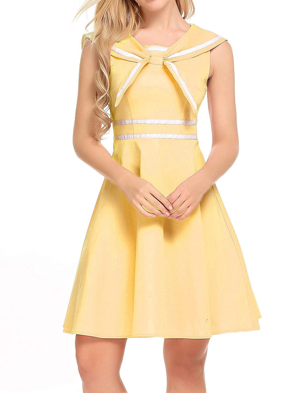 Sailor Dresses, Nautical Theme Dress, WW2 Dresses ACEVOG Womens Sleeveless 50s Vintage School Uniform Flare Retro Sailor Dress $26.99 AT vintagedancer.com