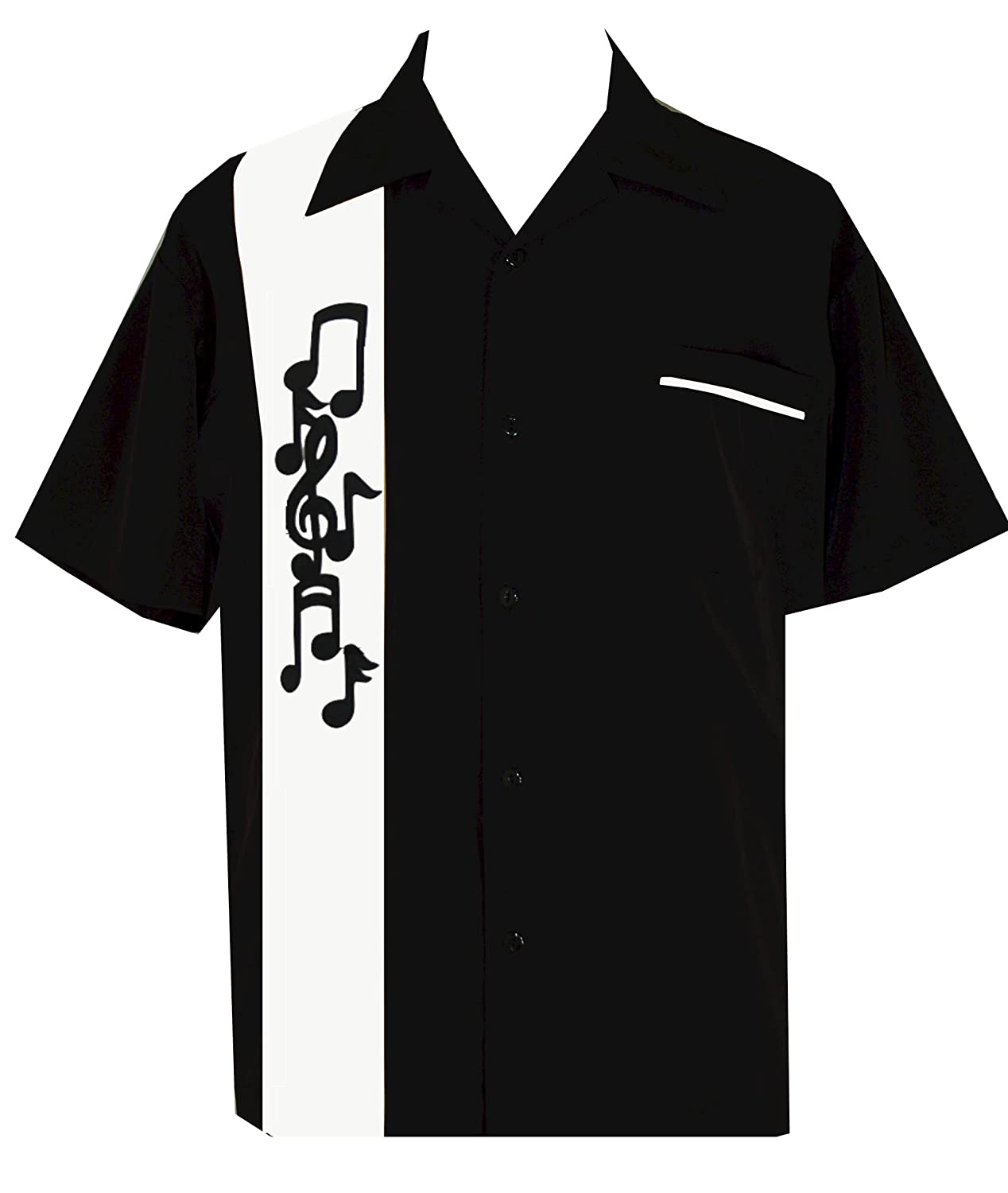 Mens Vintage Shirts – Casual, Dress, T-shirts, Polos BeRetro Musicans Music Note Black Shirt $70.95 AT vintagedancer.com