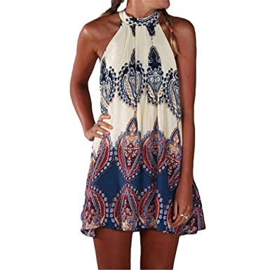 Bangpang Comfortable NEW Vintage Women Dress Printed Halter Neck Sleeveless Hippie Mini Summer Dress Plus Size
