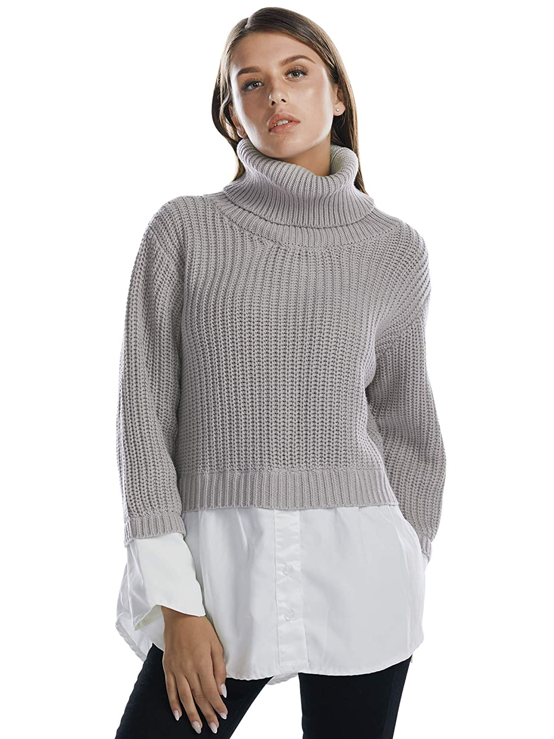 Grey BARGOOS Women Chunky Turtleneck Sweater Dress 2 in 1 Contrast Hem color Long Sleeves Office Tunic Blouse Tops