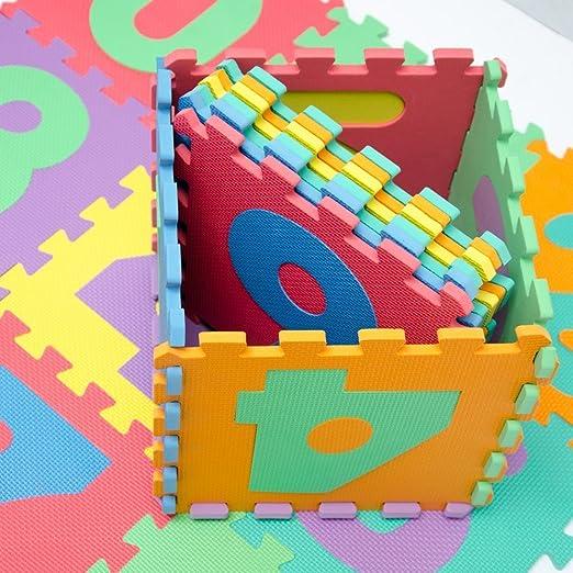 KRAFTZ® - 10 números multicolores de goma EVA para niños - Juego de piezas de rompecabezas interconectadas - Puzzle/alfombra para jugar en el suelo: ...