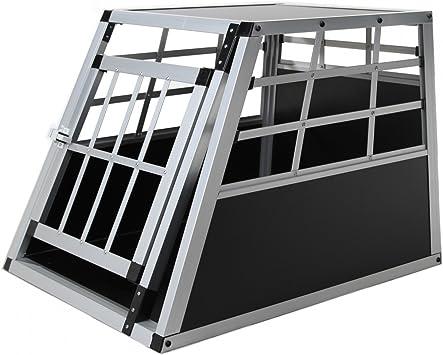 Jalano Hundebox Aus Aluminium Für Den Transport Kleiner Hunde Auto Gitterbox Mit Geneigter Vorderseite Für Pkw Kofferraum Haustier
