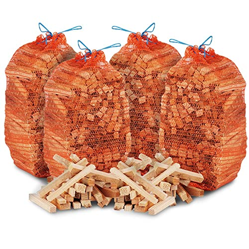 The Chemical Hut 12kg Netted Natural Wooden Kindling Wood Sticks, Ideal Fire Starting, Open Fires, Stoves, Fire Pits, Home Fires, Camp Fires & Ovens - Comes THE LOG HUT Woven Sack.…