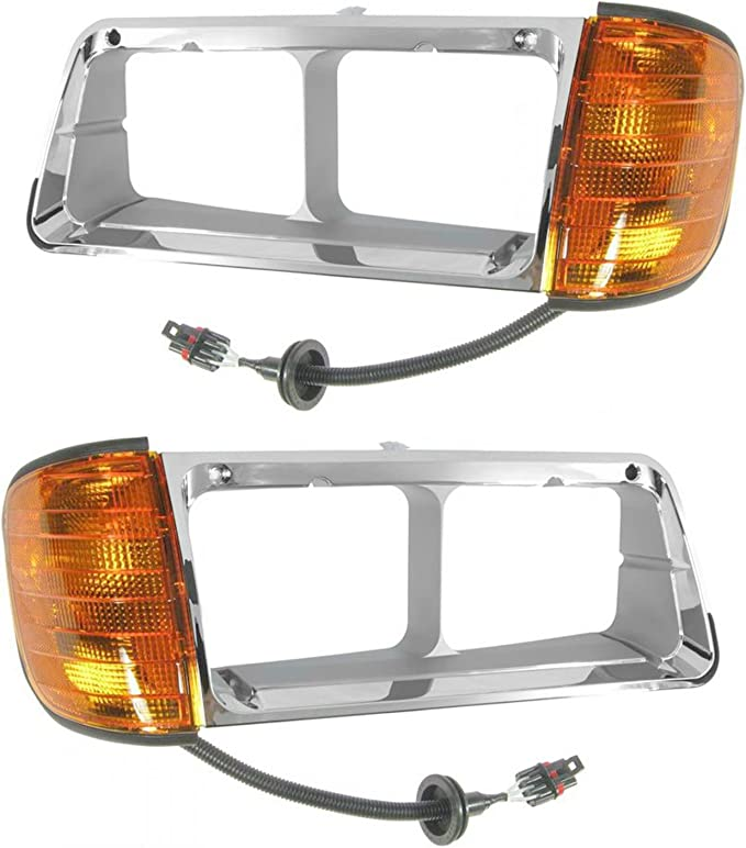 Headlight with Amber LED Turn Signal Light and Chrome Bezel with Back Housing Base FIt: 1993-2007 Freightliner FLD 112 120 Driver and Passenger Side