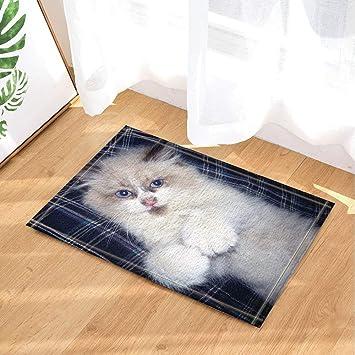 CdHBH - Alfombrilla de baño para gato de peluquería blanca con lámina de cama de alfombras de ...