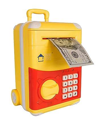 Shinetoys Ave 28th Kids Electronic Password Auto Scroll Paper Money Box Safe Piggy Bank Black