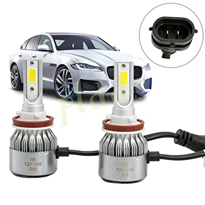 PLDDE 2pcs H11/H8/H9 6000K Cool White 7200LM All-in-One LED COB Bulbs Conversion Kit For Headlights High Low Beam Driving Fog Light Reverse Lamp DC 12V/24V IP67 Waterproof Driver+Passenger Replacement: Automotive