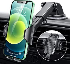 [Upgrade]VANMASS Universal Car Phone Mount Fingerprint Clamp, Handsfree Cell Phone Holder for Car Dash Windshield Air Vent, Strong Suction, Compatible with iPhone 12 11 Pro XS Max SE 8 Samsung S21 S20