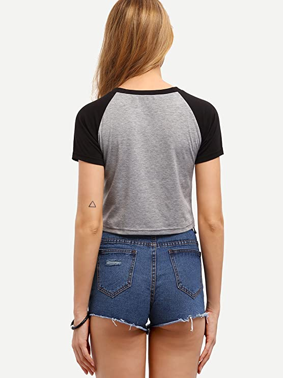ROMWE Moda Mujer T-Shirt Linda Redondo Camisetas Manga Raglan Casual Tops: Amazon.es: Ropa y accesorios