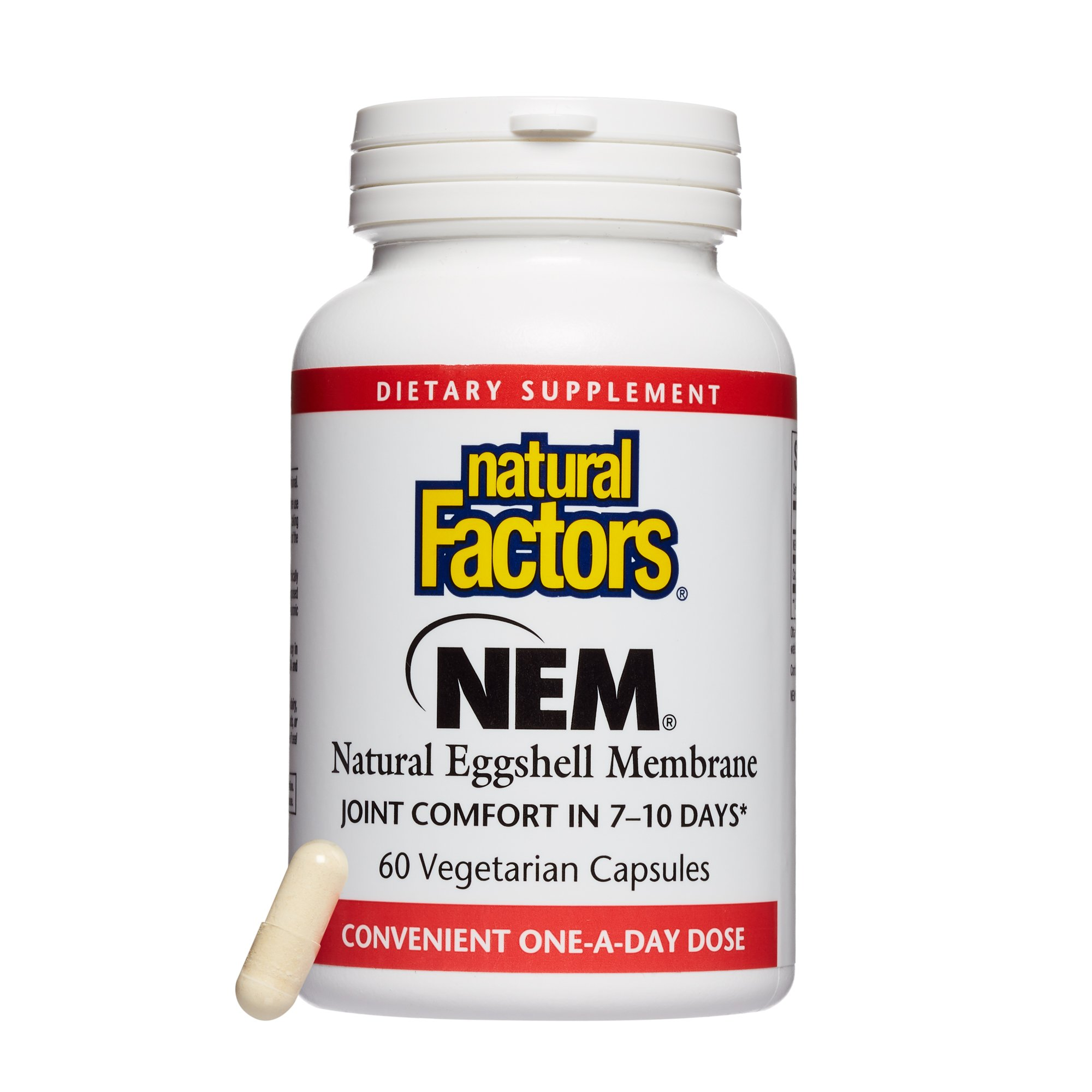 Natural Factors - NEM Natural Eggshell Membrane 500mg, Promotes Joint Comfort and Flexibility with a Natural Source of Hyaluronic Acid, Collagen, and Chondroitin, 60 Vegetarian Capsules