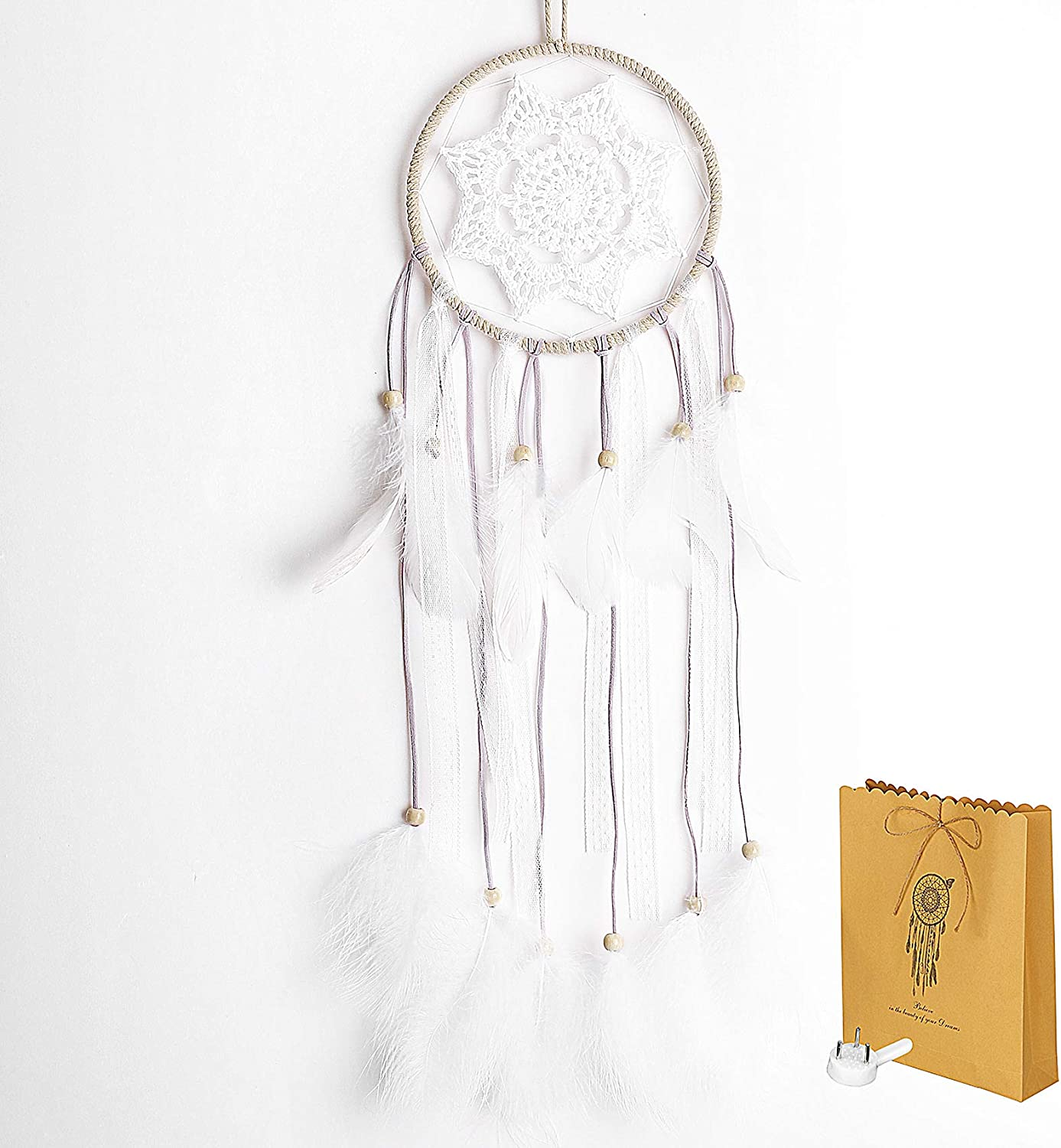 ChasBete Dream Catcher Wall Decor, Boho Dream Catcher Small for Bedroom, Handmade Feathers Dream Catcher Gift for Girls Birthday, Length 25""