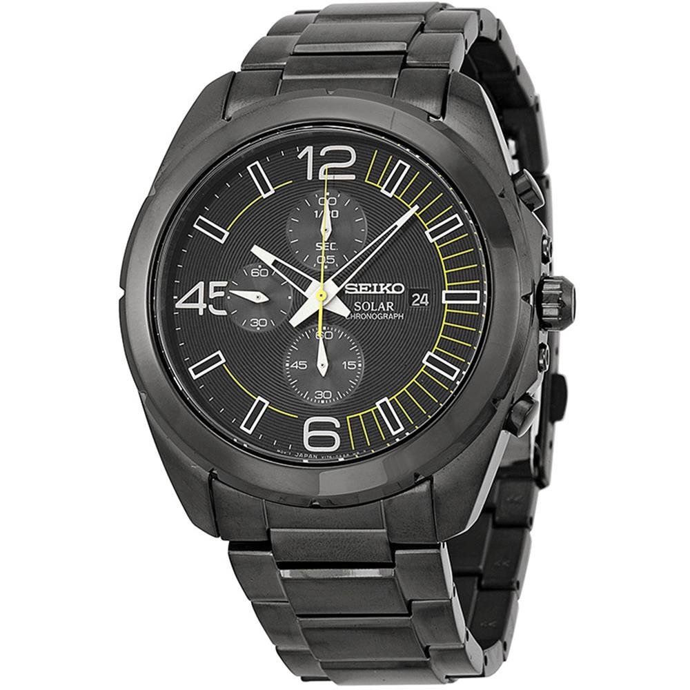 Seiko Solar Chronograph Black Dial Stainless Steel Men s Watch Watch SSC217