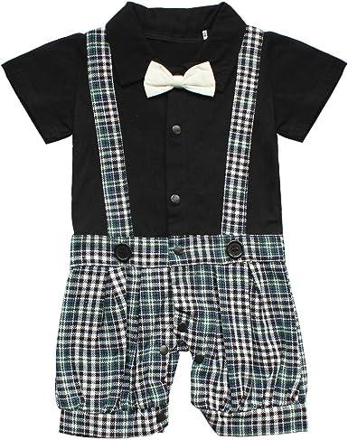 inlzdz Conjunto para Bebé Niño Recién Nacido Gentleman Camisa Manga Corta Caballero Corbata de Moño y Pantalones Cortos de Tirantes Cuadrados Smoking Elegante: Amazon.es: Ropa y accesorios