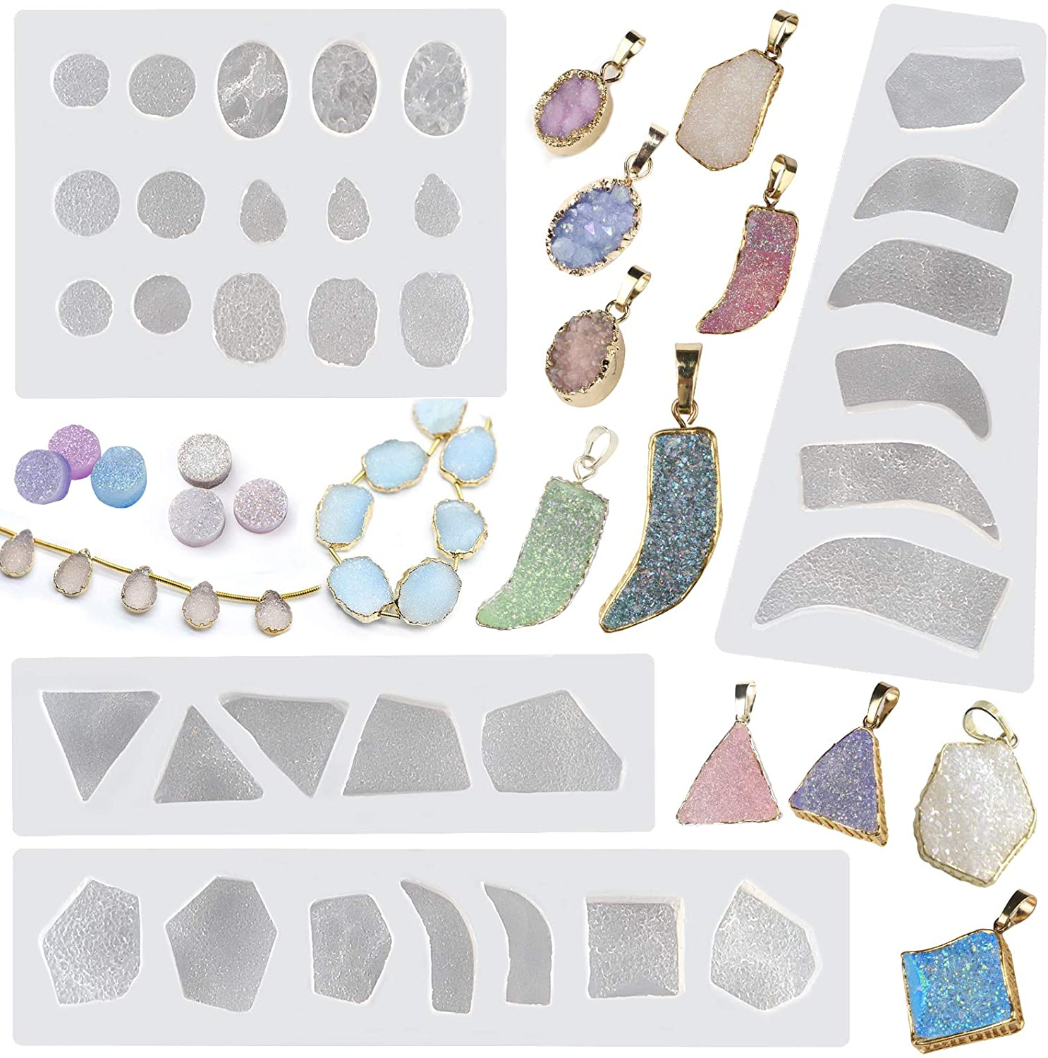 Resin Molds for Jewelry Crystal Glue Mold Set Silicon Mold Resin Mold Kit Premium Silicone Molds for Resin Casting Epoxy Molds Resin Jewelry Making Kit Keychain Molds Earring Molds Craft Kit