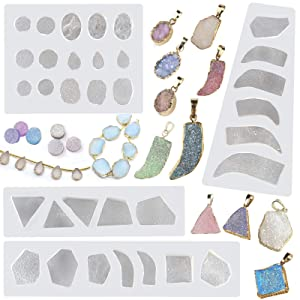 Druzy Agate Epoxy Resin Silicone Molds Set Jewelry Making Kits for Geode Cabochon Gemstone Necklace Pendant Earrings Bracelet Charms 33 Shapes 0.35-1.65inch
