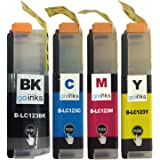 1 Compatible Set of 4 LC123 Printer Ink Cartridges (4 Inks) - Black / Cyan / Magenta / Yellow for Brother DCP-J132W, DCP-J152W, DCP-J4110DW, DCP-J552DW, DCP-J752DW, MFC-J4410DW, MFC-J4510DW, MFC-J4610DW, MFC-J470DW, MFC-J4710DW, MFC-J650DW, MFC-J6720DW, MFC-J6920DW, MFC-J870DW
