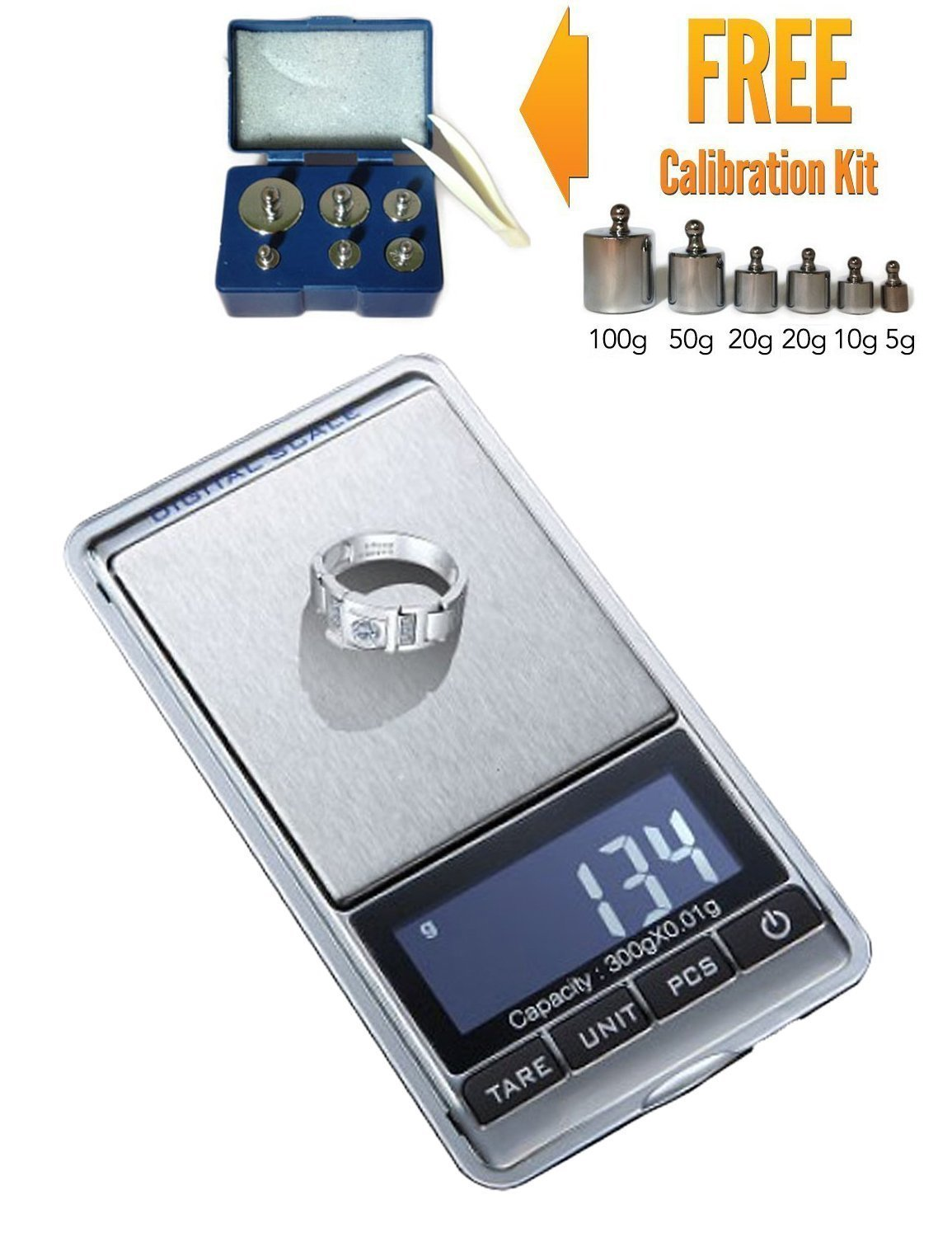 300g x 0.01g Mini Digital Jewelry Pocket GRAM Scale LCD + M2 Calibration Weight Kit - with Retail Packaging Luckystone 38758802
