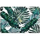 uphome palm tree leaves pattern flannel microfiber bathroom shower accent rug nonslip soft