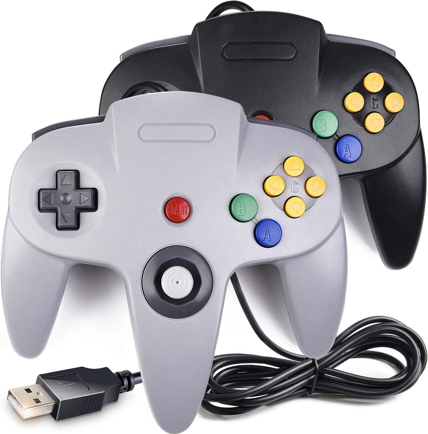 [USB Version] 2 Pack Classic N64 Controller, iNNEXT N64 Wired USB PC Game pad Joystick, N64 Bit USB Wired Game Stick for Windows PC MAC Linux Raspberry Pi 3 Genesis Higan (Black/Grey)