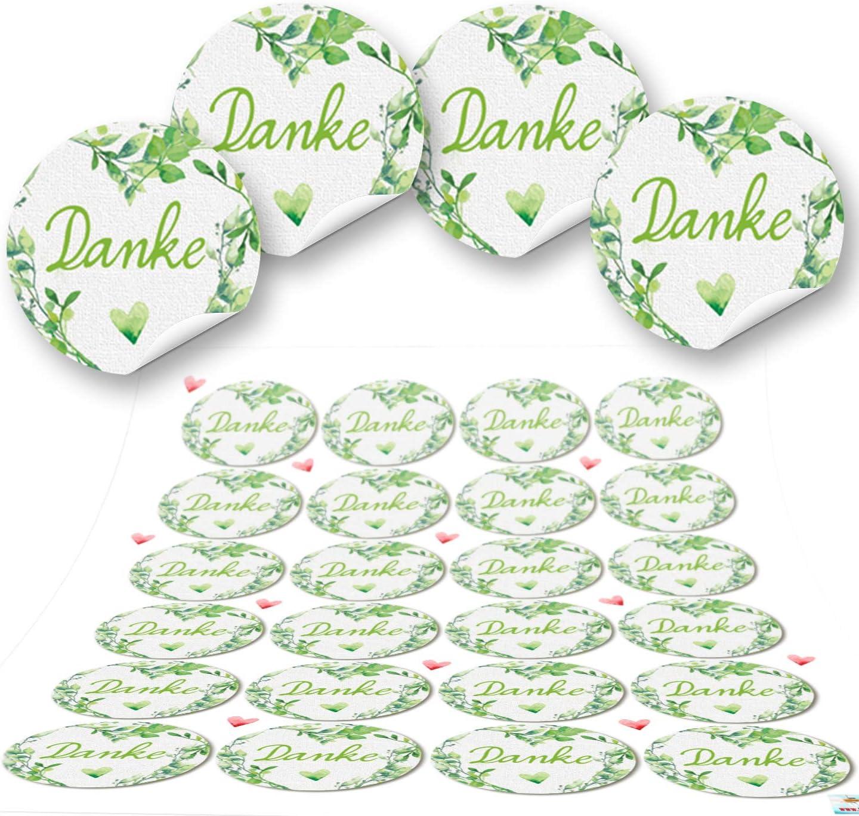 Logbuch-Verlag 24 DANKE Aufkleber Sticker gelb rosa bunt 4 cm Geschenkaufkleber Dankesch/ön Dankeaufkleber Verzierung Verpackung